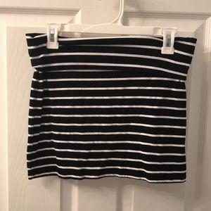 Selena Gomez Stretchy Black & White Striped Skirt